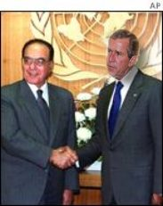 George bush is welcomed at the UN by MSS, the new secretary general